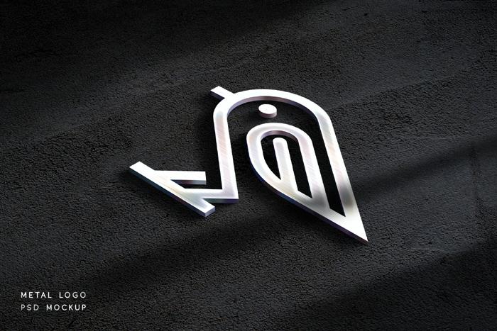 Metal Logo Mockup Psd Template Free Download
