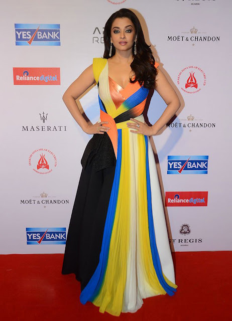 Aishwarya Rai in Multi Colored by Amit Aggarwal Pleated Long Gown