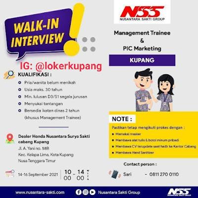 Lowongan Kerja Walk-In Interview NSS Cabang Kupang Sebagai Management Trainee & PIC Marketing