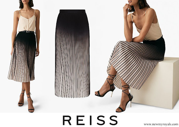 Queen Letizia wore Reiss Marlie Contrast Pleated Midi Skirt