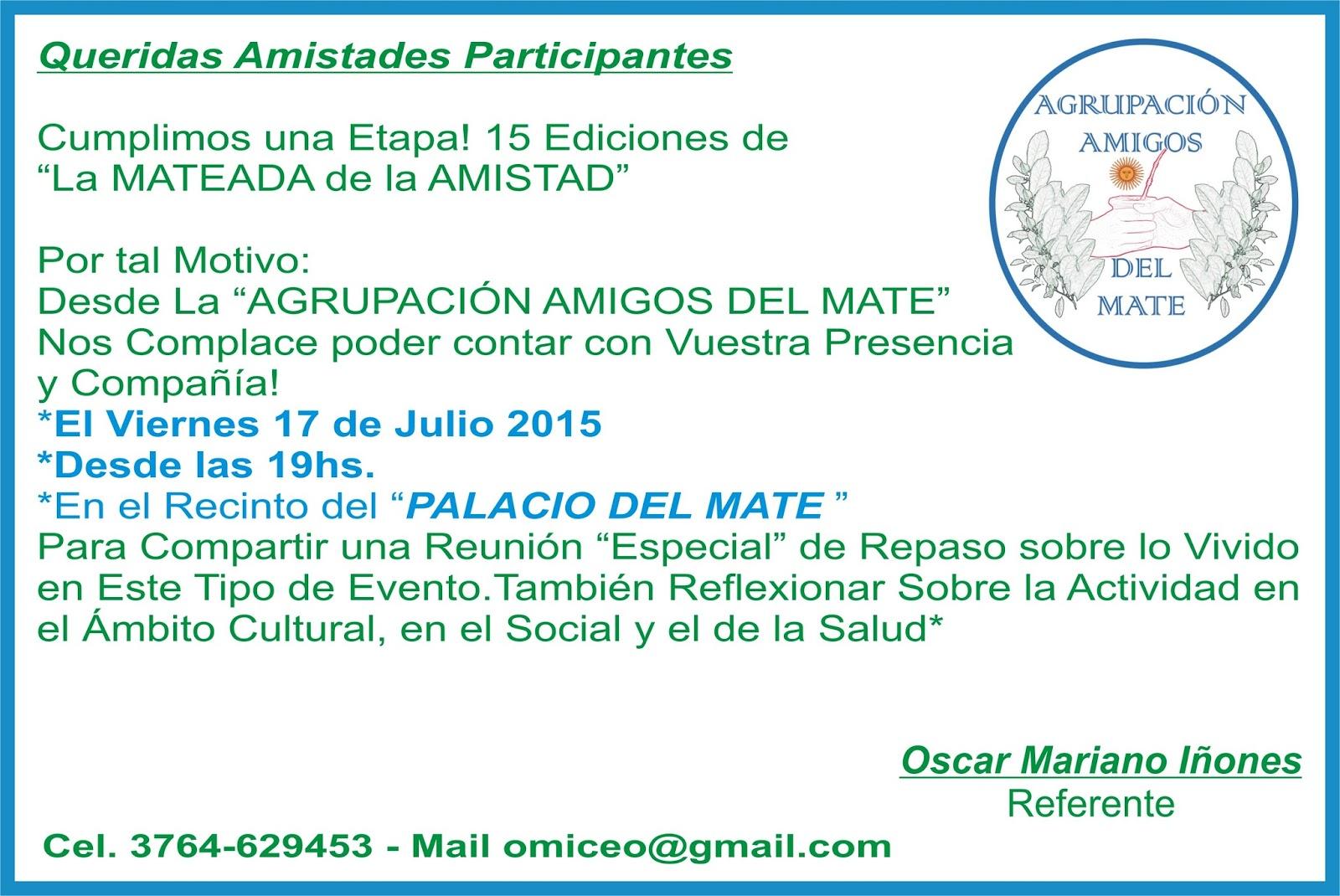 Invitación X Reunión Y Mateada De La Amistad Xv