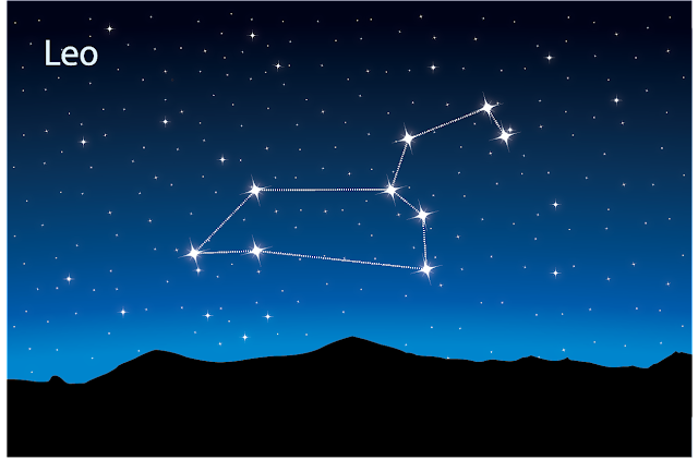 The constellation Leo in the night sky