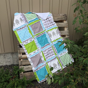 Elephant Diaper Bag and Quilt for Baby Boy Nursery