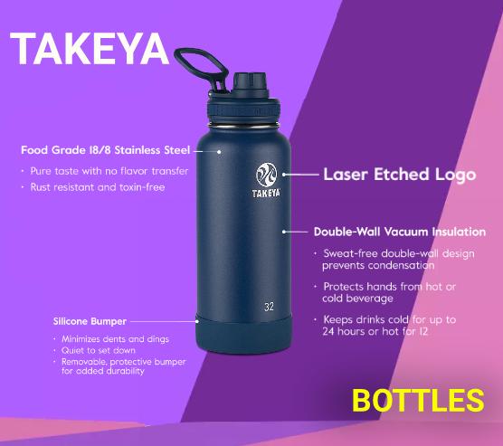 Gym Water Bottle-Takeya Originals Vacuum-Insulated Stainless-Steel
