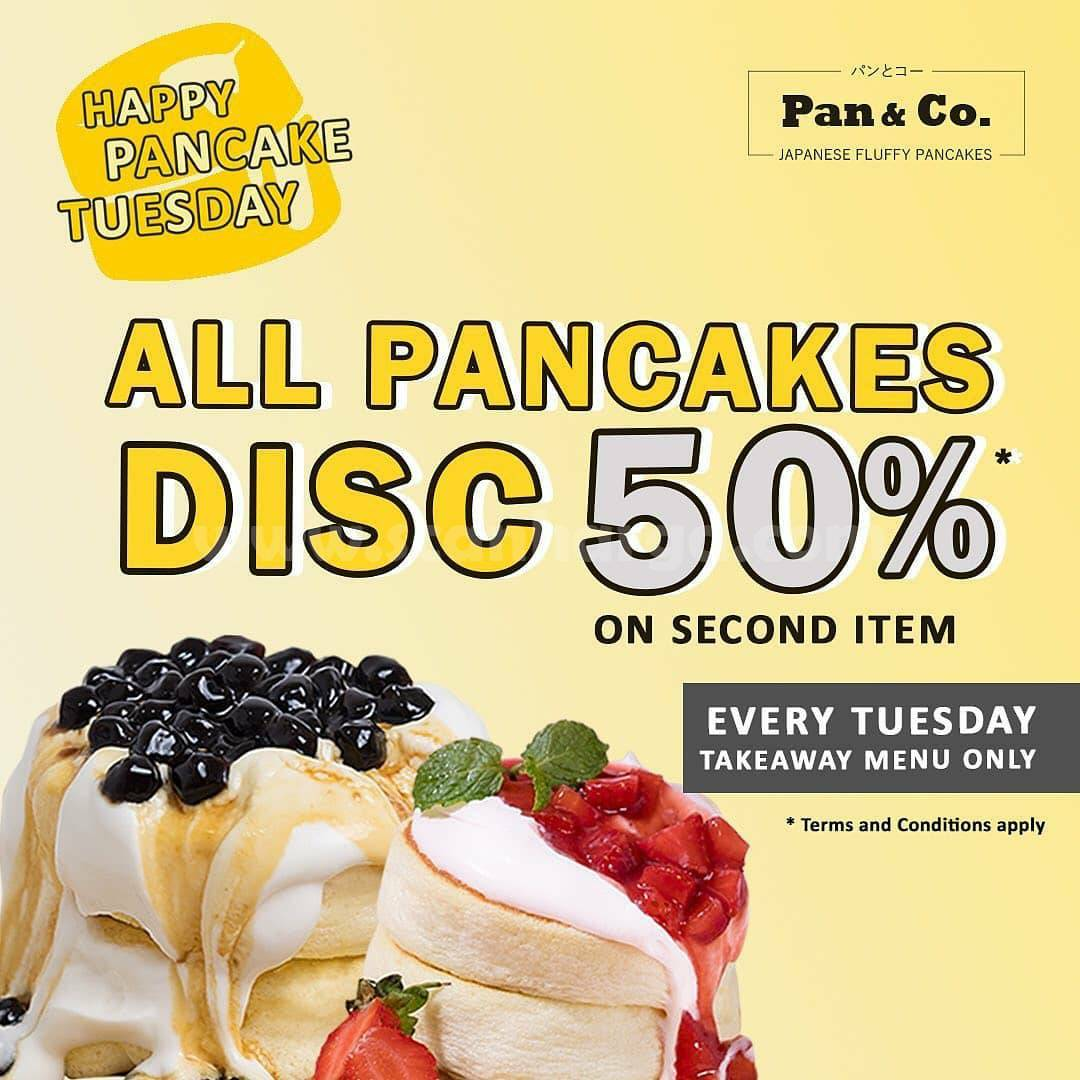 Promo Pan & Co. Happy Pancake Tuesday – All Pancakes Disc. 50% on Second Item