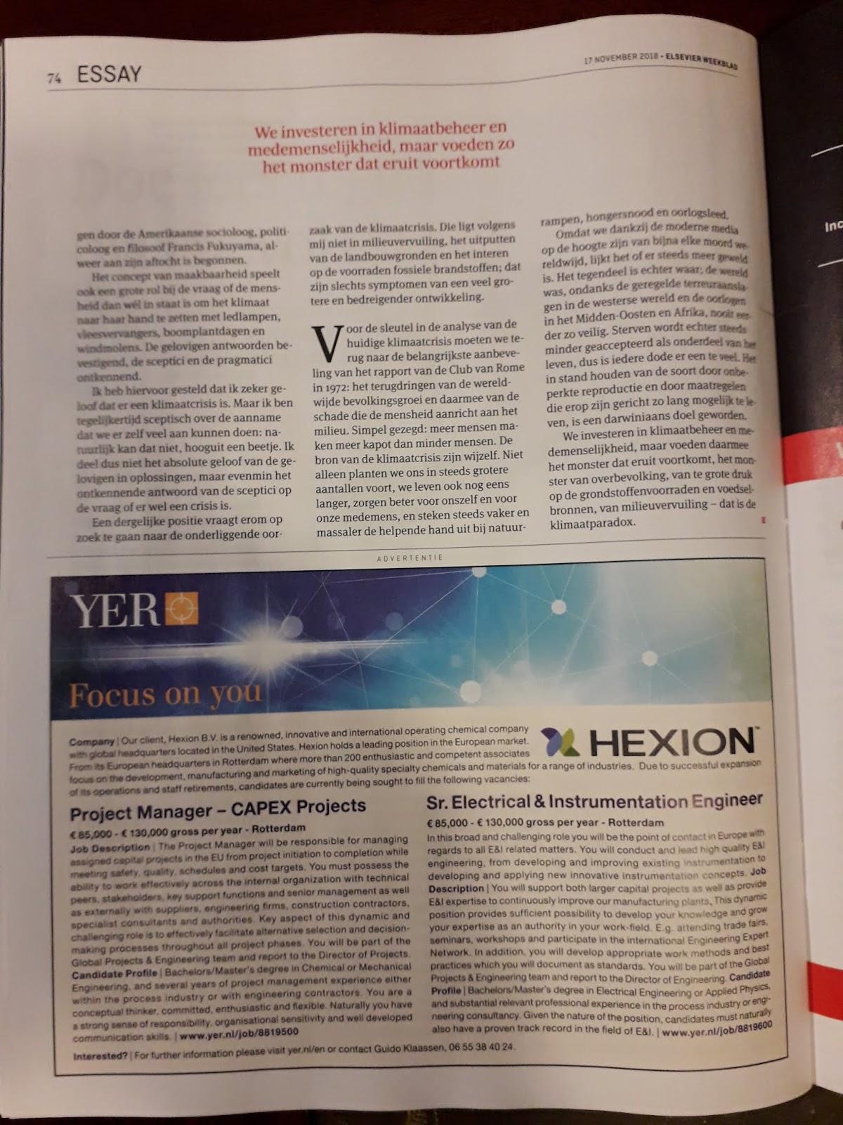 Elsevier Weekblad, De Klimaatparadox, Peter van Druenen