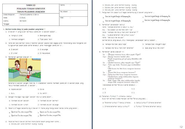 Soal PTS Kelas 2 SD/MI: Tema 6 Subtema 3-4