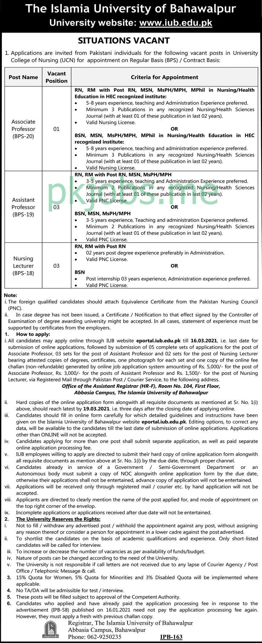 Latest The Islamia University of Bahawalpur Posts 2021 Ad-2