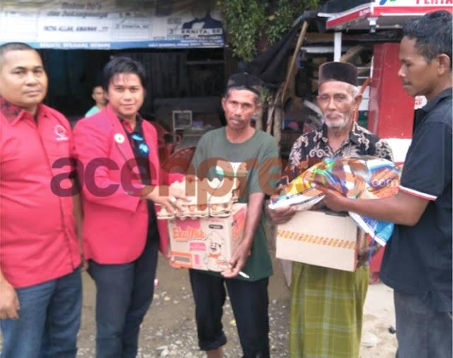 DPC PDIP Aceh Utara Salurkan Bantuan Untuk Korban Banjir