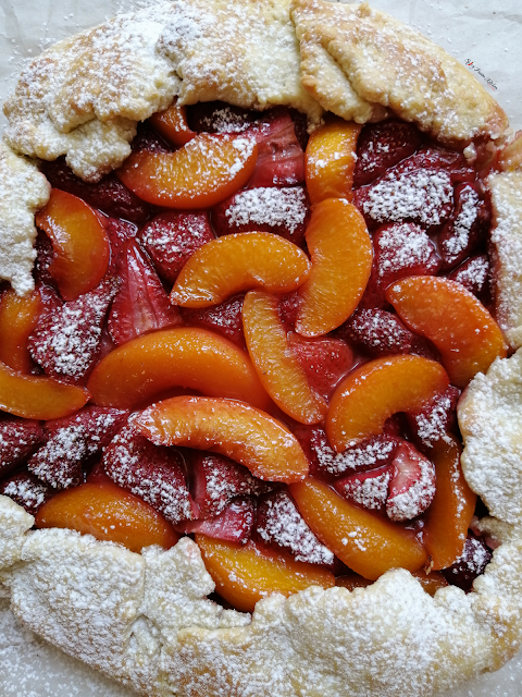 Strawberry and Peach Rustic Galette, food flatlay, flatlay, strawberry galette, peach galette, galette, galette recipe, fruit, strawberries, peaches, dessert, pie, tart, food, food photography, food blogger, food blog, food pictures, food recipe, dessert recipe, pastry, food stylist, spicy fusion kitchen, sweet, fruit tart, fruit galette, fruit pie, rustic galette