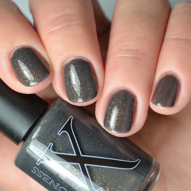 grey nail polish with bronze flecks four finger swatch