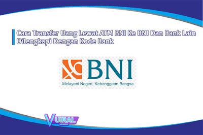 Cara Transfer Uang Lewat ATM BNI Ke BNI Dan Bank Lain Dengan Kode Bank