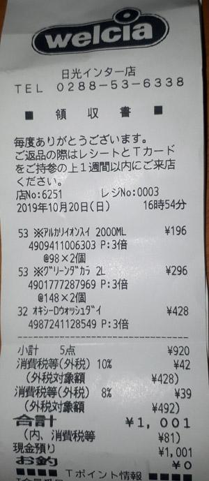 ウエルシア 日光インター店 2019/10/20 のレシート