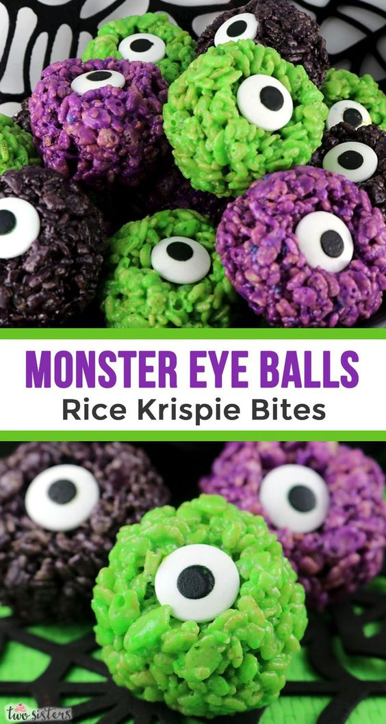 Monster Eye Ball Rice Krispie Bites