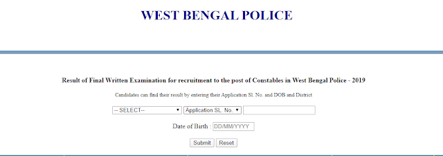 Bengal police Constable result