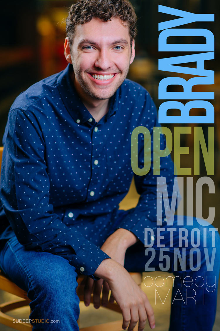 Actor Comedian Portrait for Audition Publicity Poster for Standup Comedy Open Mic by SudeepStudio.com Ann Arbor Live Performance Headshot Photography