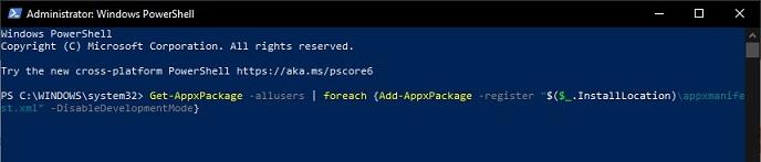 Perintah PowerShell untuk restore aplikasi default Windows 10