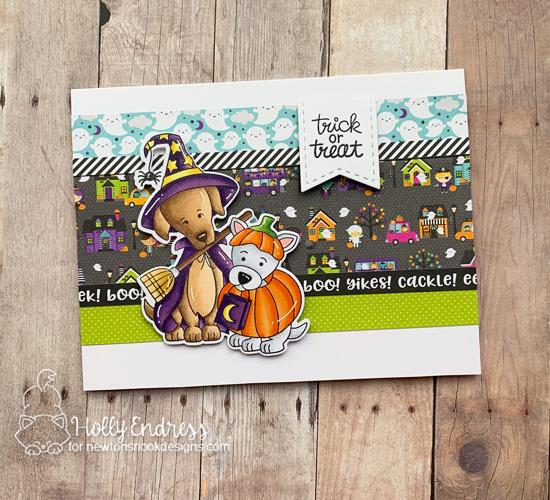 Trick or Treat Card by Holly Endress | Happy Howl-oween Stamp Set by Newton's Nook Designs #newtonsnook #handmade