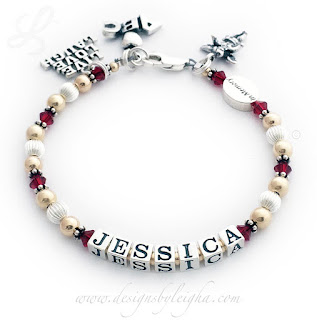Jessica In Memory Bracelet with a Live Laugh Love Charm, ABC Apple Charm and Angel Charm