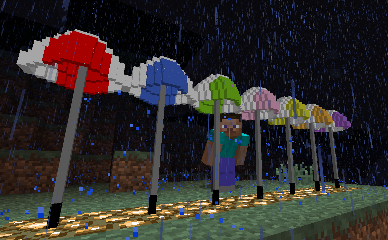 how to make an umbrella in minecraft pe