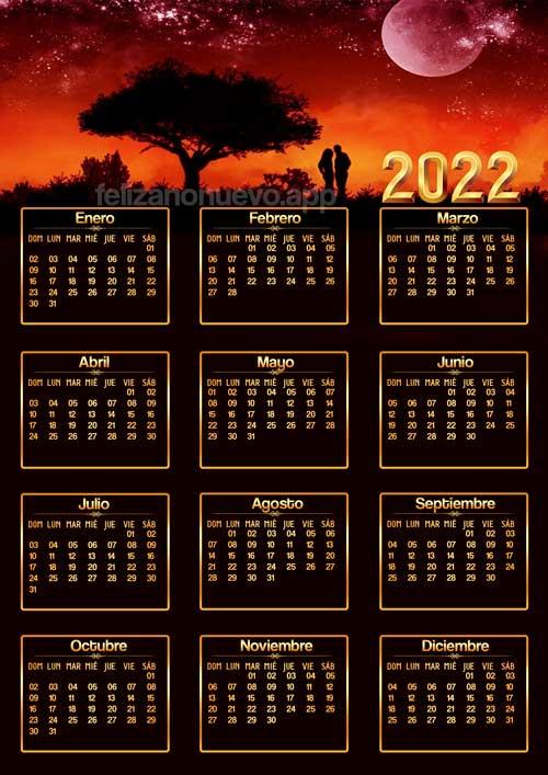 imágenes de calendarios de amor 2022 para imprimir