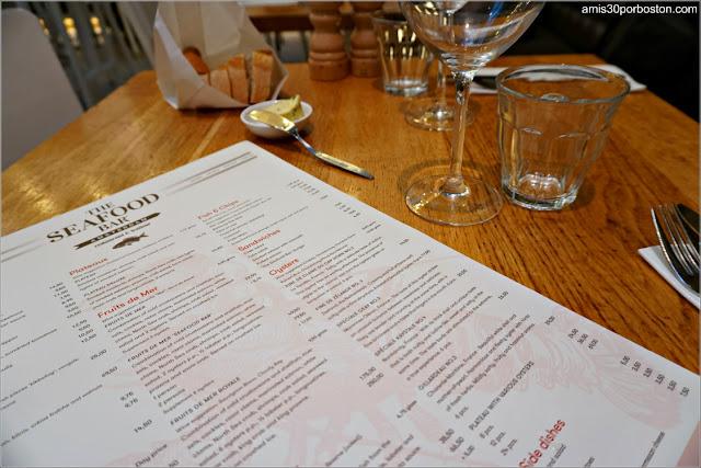 Carta de The Seafood Bar en Amsterdam