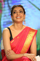 Kajal Aggarwal in Red Saree Sleeveless Black Blouse Choli at Santosham awards 2017 curtain raiser press meet 02.08.2017 072.JPG