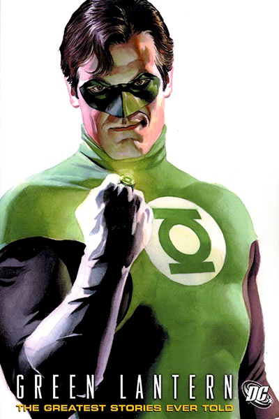 GL Hal Jordan from the waist up, kind-of smirking, his power ring glowing on his gloved right fist