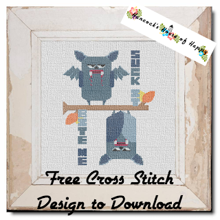 Free Snarky Vampire Bat Cross Stitch Pattern