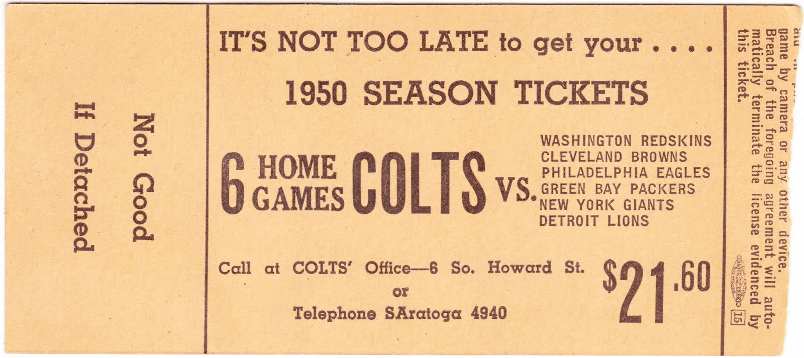 97cc9d45 Papergreat: 1950 ticket stub for Colts-Steelers preseason NFL game