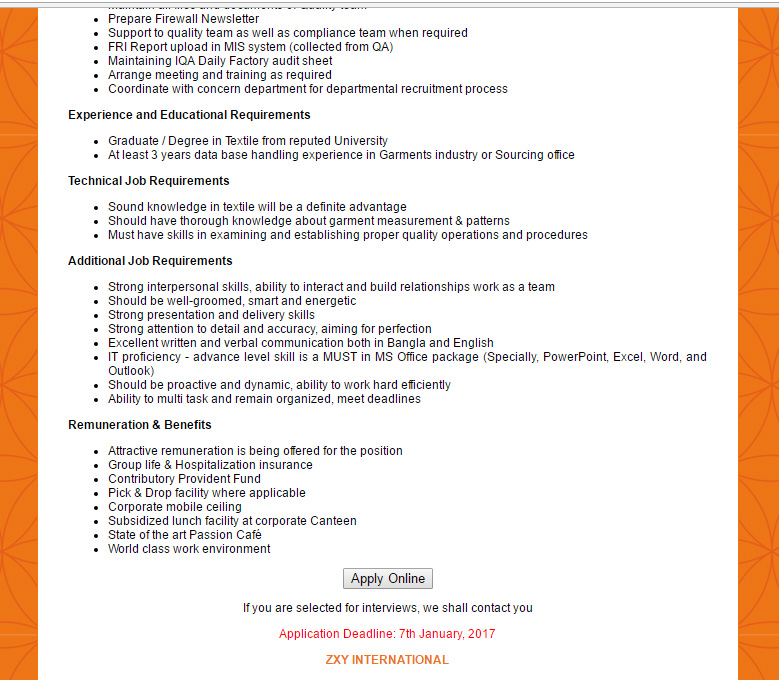 ZXY INTERNATIONAL Position Coordinator Quality Assurance Jobs – Quality Assurance Job Description