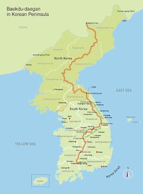 peta gunung baekdu korea