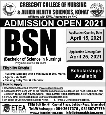 Crescent College Of Nursing & Allied Health Sciences Kohat Admissions