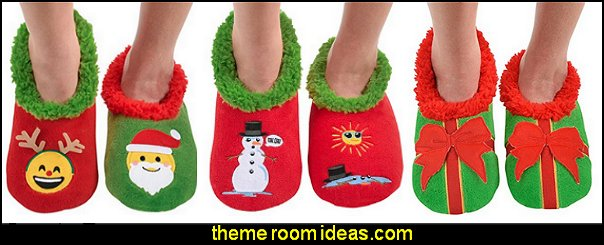 Womens Ugly Christmas  slippers ugly sweaters - Christmas ugly sweaters  - decorate yourself - womens ugly sweaters - ugly mens sweaters - embellished ugly sweaters - fun sweaters - novelty sweaters - Christmas party sweaters - quirky party sweaters - Christmas party hats - peppermint candy cane Leggings - ugly sweater party decorations