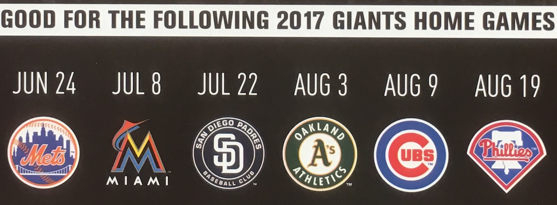 Choose among home games against the world champs Chicago Cubs or the crosstown rival Oakland A's