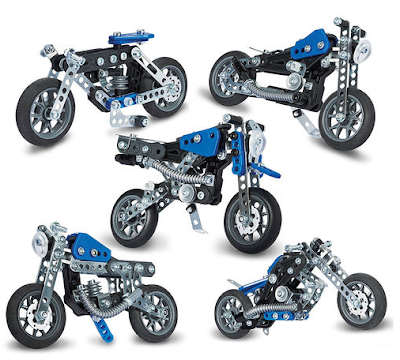 The 5 different Meccano Motorcycles that can be made using this set
