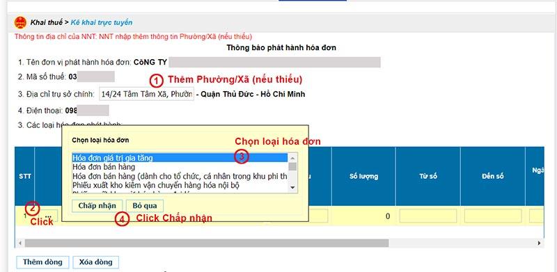 Hình 8 - Nhập thông tin trên Thông báo phát hành hóa đơn điện tử Viettel
