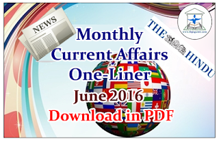 Monthly Current Affairs One-Liner June 2016- Download in PDF