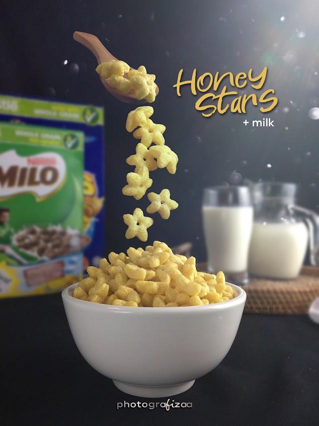 Sesekali Breakfast Cereal Honey Stars Dan Susu