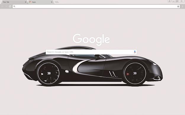 Black Bugatti Google Theme