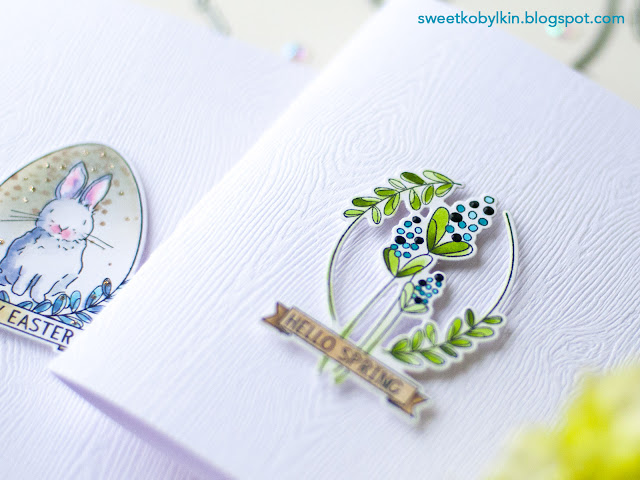2 Easy Coloured Spring Cards with Woodgrain Card Base