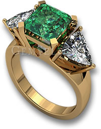 Emerald and Sapphire Three-Stone Gold Ring