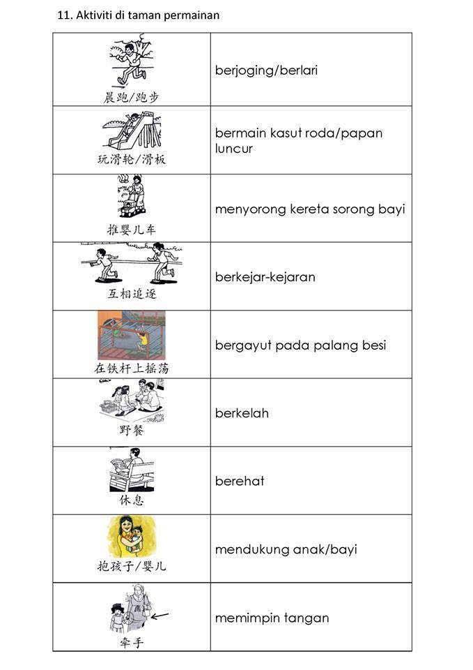 Bahasa Melayu Study Notes Bina Ayat 11 Aktiviti Di Taman Permainan