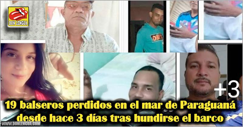 19 balseros perdidos en el mar de Paraguaná desde hace 3 días tras hundirse el barco