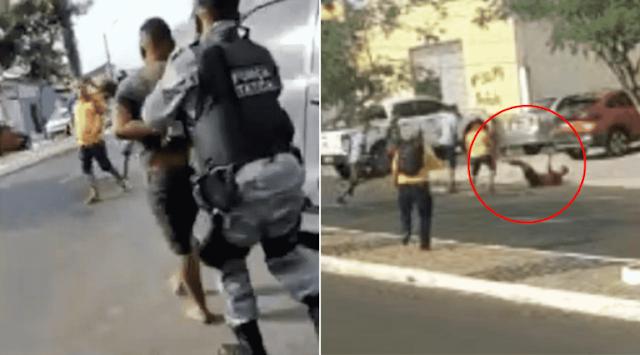 Vídeo: suspeito de assalto é linchado por populares durante fuga em Teresina