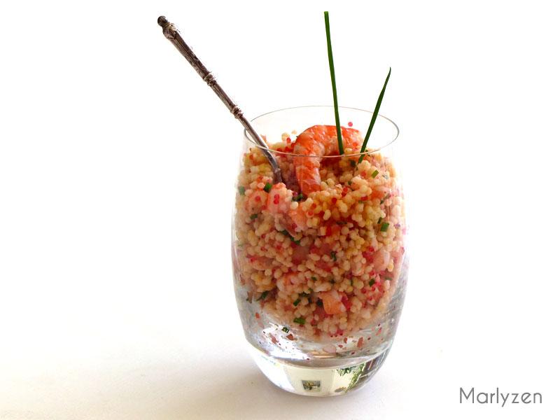 Salade de perles au saumon et aux crevettes