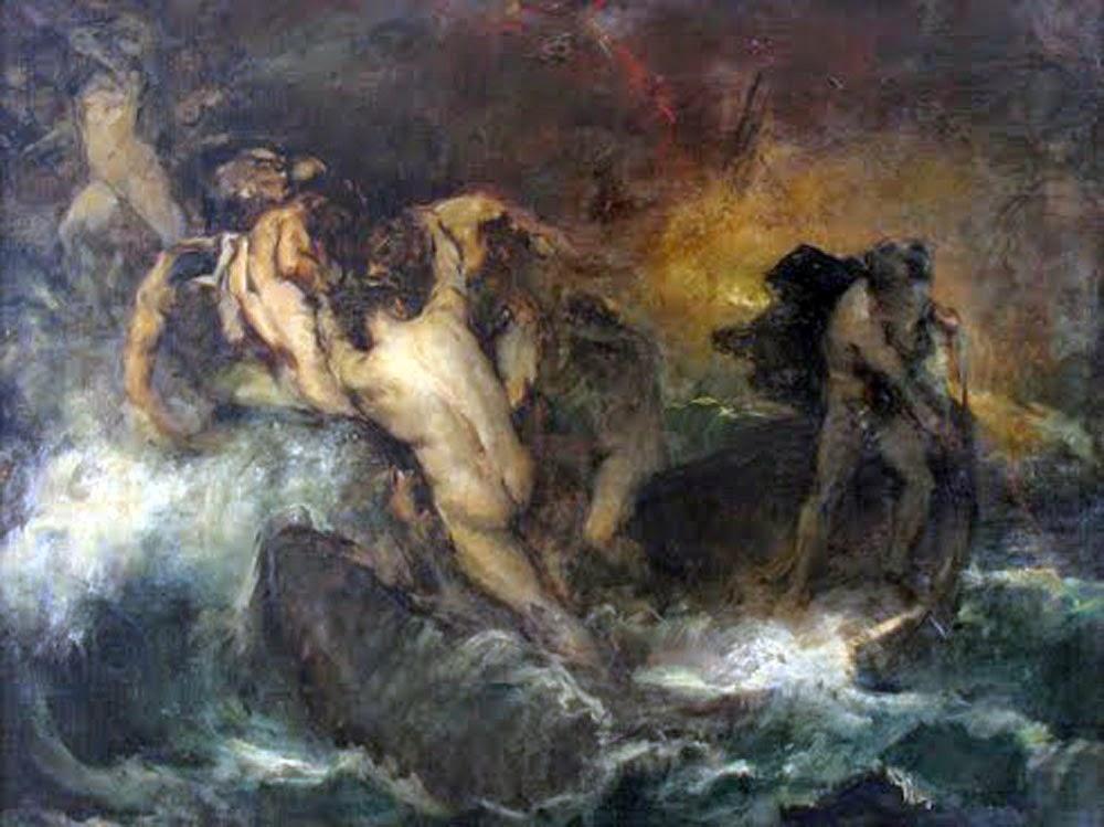 The boat of Acheron by Félix Resurrección Hidalgo, Classical mythology, Greek mythology, Roman mythology, mythological Art Paintings, Myths and Legends