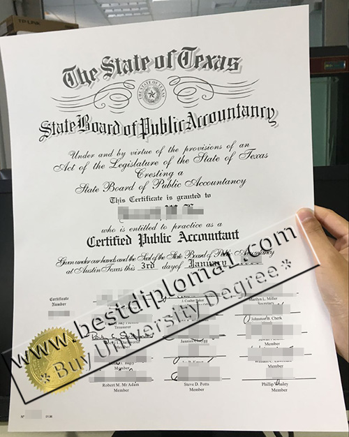 Fake State of Texas CPA certificate