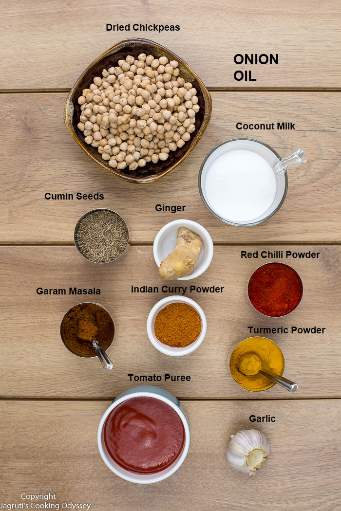 image of ingredients for chickpea curry