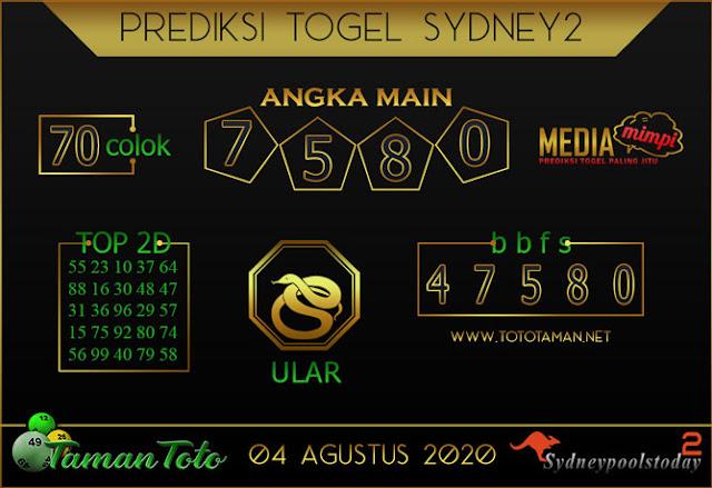 Prediksi Togel SYDNEY 2 TAMAN TOTO 04 AGUSTUS 2020